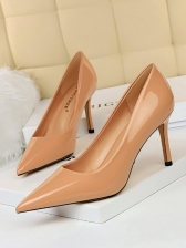 OL Style Pure Color Pointed Toe Pumps Heels