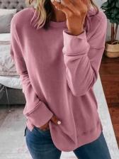 Casual Pure Color Long Sleeve Crewneck Sweatshirt