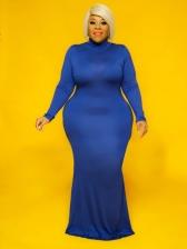 Euro Solid Floor Length Plus Size Maxi Dresses