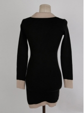 V Neck Contrast Color Knitted Ladies Bodycon Dress