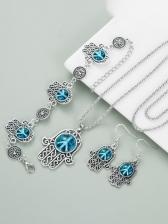 Hollow Out Blue Rhinestone Bracelet Earrings Necklace Set