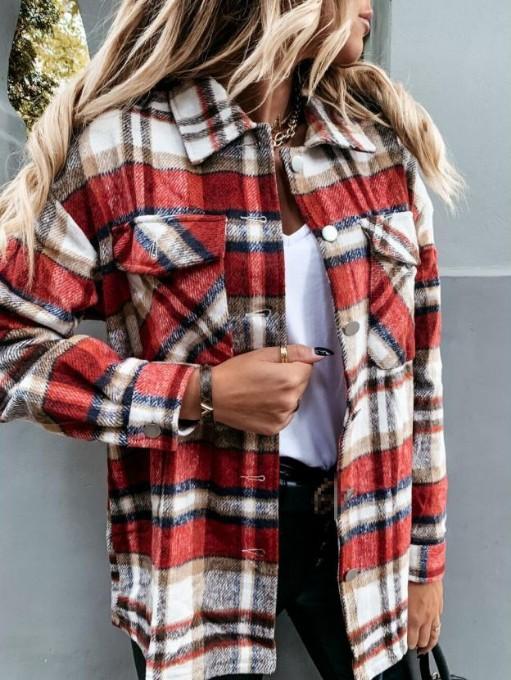 Euro Turn-Down Collar Plaid Long Sleeve Coat