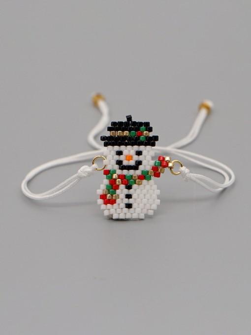 Handmade Beads Snowman Christmas Bracelet