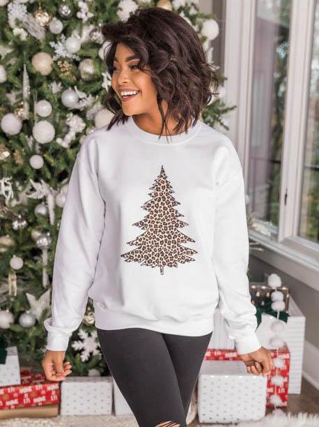 Leopard Print Christmas Tree Casual Fashion Sweatshirt