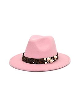 Autumn Winter Leopard Embellish Woolen Fedora Hat