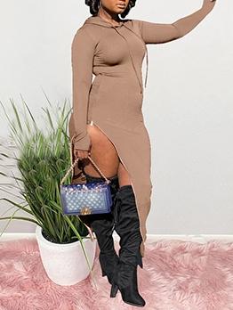 Euro Side Slit Hooded Long Sleeve Maxi Dress