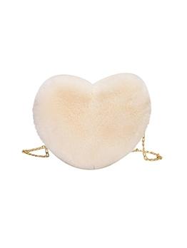 Winter Plush Heart Chain Shoulder Bags