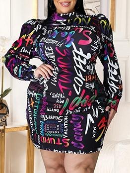 Colorful Letter Long Sleeve Plus Size Dresses