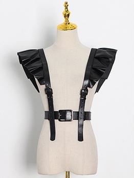 Streetwear Ruffled PU Harness Belt