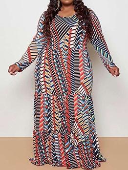 Long Sleeve Printed Plus Size Maxi Dresses