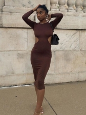 Crew Neck Cut Out Long Sleeve Bodycon Dress