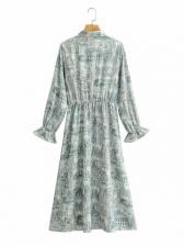 Bow Neck Printed Flare Long Sleeve Maxi Dress