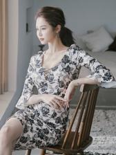 Rose Printed Knee Length Flare Sleeve Women Dresses