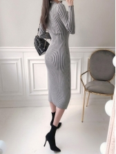 Elegant V Neck Slit Long Sleeve Midi Dress