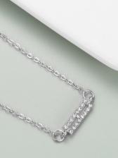 Full Rhinestone Silver Letter Pendant Necklace