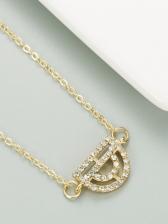 Street Versatile Rhinestone Alloy Material Necklace