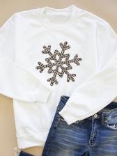 Christmas Snowflake Printing Crew Neck Sweatshirt