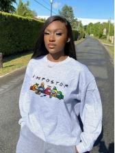Grunge Style Cartoon Print Crew Neck Sweatshirt