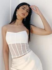 Sexy White Sleeveless Tank Top