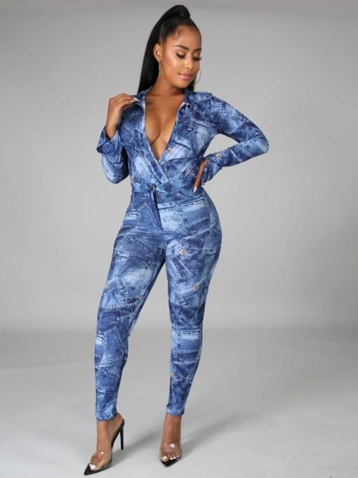 Digital Print Long Sleeve Bodysuit With Long Pants