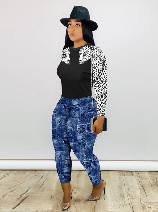 Sexy Print Two Piece Pants Set