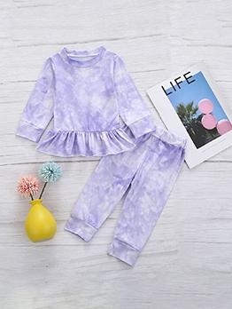 Ruffle Hem Tie Dye Two Piece Girls Clothing Set