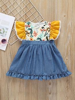 Half Buttons Flower A-Line Dress For Girl