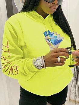 Streetwear Letter Print Long Sleeve Pullover Hoodies