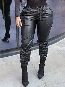 Casual Drawstring Elastic Waist Leather Pants