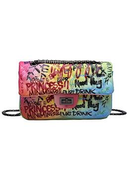 Colorful Graffiti Printed Chain Shoulder Bag
