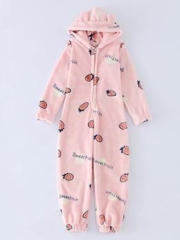 Children Thicker Plush Sleepwear Jumpsuit For Unisex