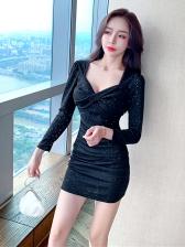 Low Cut Black Long Sleeve Glitter Mini Dress