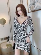 Long Sleeve Zebra Striped Mini Dress Sexy