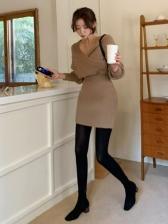 Korean Style V Neck Two Piece Knitting Skirt Sets