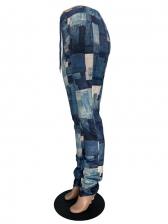 Fashion Printed Drawstring Stacked Pants