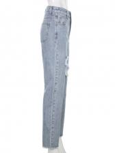 Trendy High Split Ripped Straight Jeans