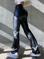 Fashion Plain Black Leather Bootcut Pants