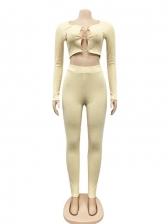 Scoop Neck Long Sleeve Skinny 2 Piece Pants Set