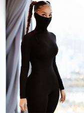 Plain Black High Neck Lift Bodycon Jumpsuit