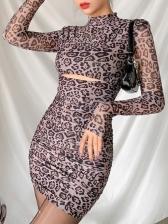 Hollow Out Leopard Mock Neck Long Sleeve Dress