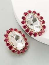 Euramerican Geometry Rhinestone Vintage Earrings