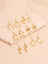Stylish Simple Star Snowman Christmas Earrings Sets