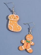 Christmas Party Socks Resin Cute Earrings