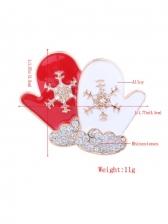 Christmas Gloves Shape Rhinestone Snowflake Brooch