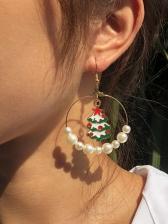 Stylish Faux-Pearl Christmas Long Earrings