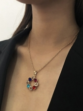 Fashion Colorful Garland Geometric Pendant Necklace
