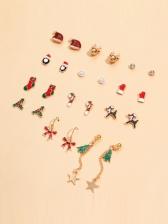 Christmas Element Design Cute Stud Earrings Set