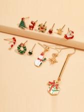 Christmas Tree Santa Claus Cute Earrings Set
