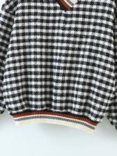 Korea V Neck Plaid Sweater Autumn