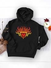 Outdoor Heart Print Hoodie Autumn